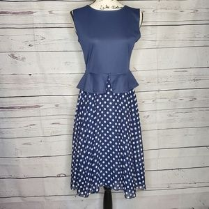 Swing Dance Dress. Navy Blue & White Polka Dot